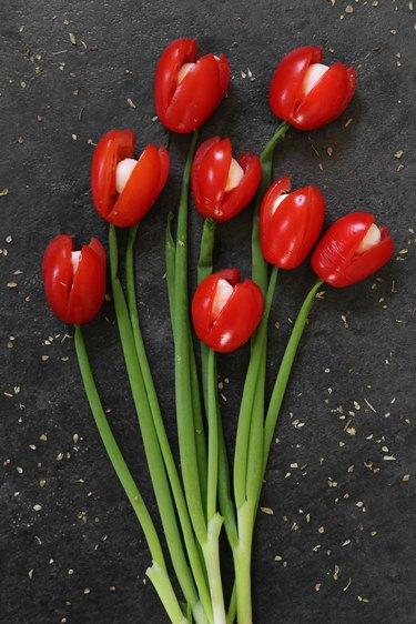 Tomato and mozzarella tulips