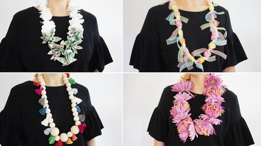 Four different graduation lei styles: money, candy, beads, flowers
