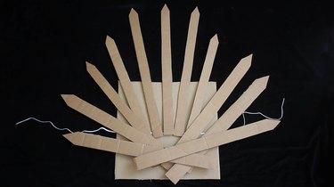 Spikes glued onto cardboard