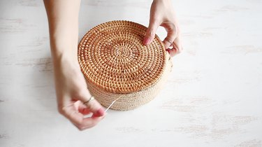 Sewing the webbing to the trivet