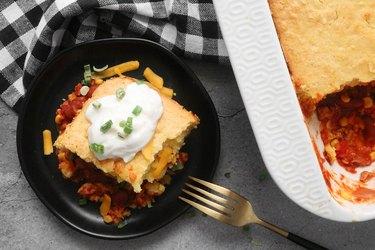 Cornbread chili pie casserole