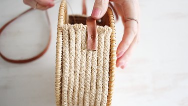 Sewing straps to purse with a catch stitch