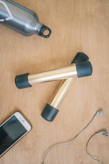 DIY black and gold PVC pipe hand weights