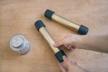 Gluing cap to other end of PVC pipe