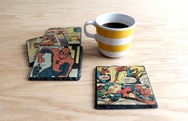 decoupage vintage comic book slate coasters