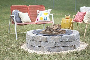 Firepit made from stacked paving stones