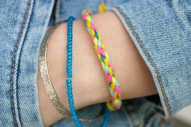 Close-up of woven bracelet on wrist
