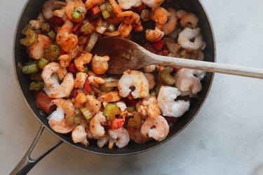 Stir in the shrimp.