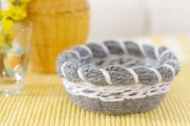 Closeup of gray woven basket