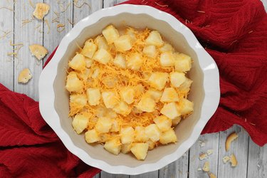 Add pineapple mixture to dish