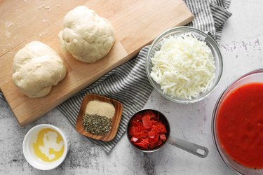 Ingredients for mini deep dish pizza muffins
