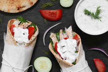 Chicken gyros with fresh tzatziki sauce