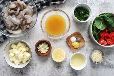 Ingredients for easy shrimp scampi
