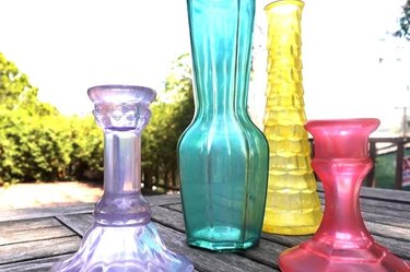 Faux sea glass in purple, teal, yellow and pink takes effect on vintage vessels
