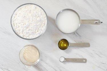 Ingredients for vegan pizza dough
