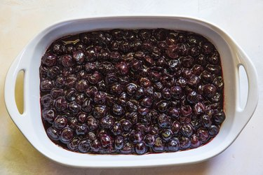 Cherry filling in a casserole dish