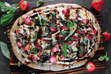 Strawberry balsamic and brie pizza