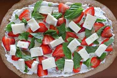 Add basil, strawberries and brie