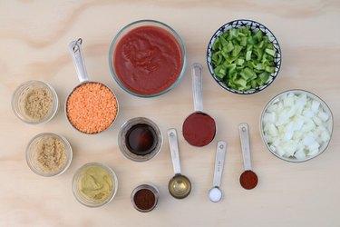 Ingredients for vegan lentil sloppy joes