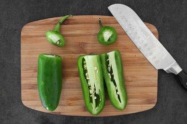 Cut jalapeño peppers