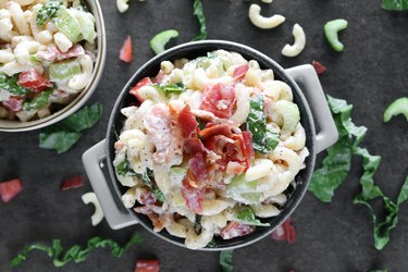 BLT macaroni salad topped with bacon