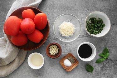 Ingredients for homemade bruschetta