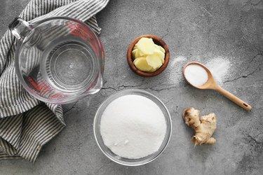 Ingredients for ginger simple syrup