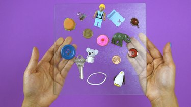 "Random objects to put inside DIY ""I Spy"" Bottle Travel Toy"