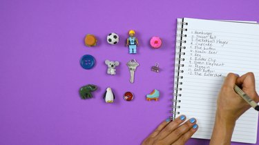 "Listing objects inside DIY ""I Spy"" Bottle Travel Toy"