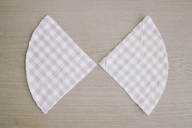 Fabric pie pieces placed with right sides together