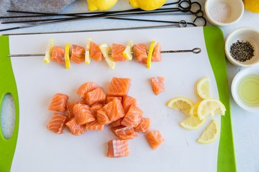 skewer with salmon and lemon