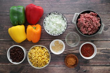 Ingredients for taco stuffed bell peppers