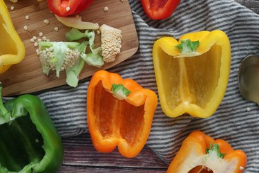 Cut bell peppers lengthwise