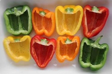 Drizzle bell peppers with olive oil