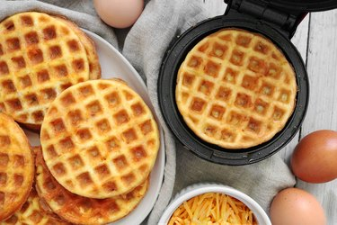Low-carb cheese and egg waffles