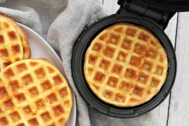 Cooked cheese and egg waffle