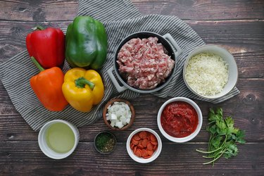 Ingredients for pepperoni pizza stuffed peppers