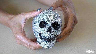 DIY Gemstone Studded Halloween Skull