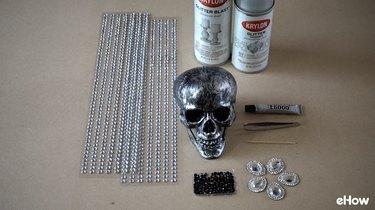 Materials for DIY Gemstone Studded Halloween Skull