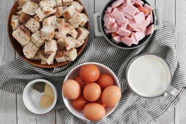 Ingredients for eggs Benedict casserole