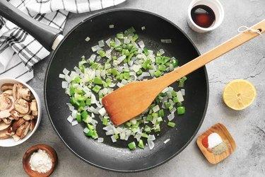 Sauté onion, bell pepper and garlic