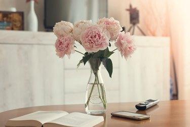 Vase of peonies in the living room