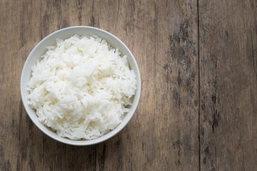 Directly Above Shot Of Rice In Bowl On Table