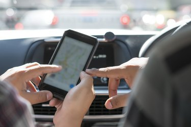 Using map on smartphone in car