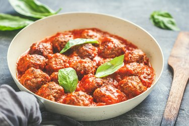 Close-Up Of Meatball In Bowl On Table
