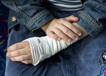 Bandaged hand, close-up