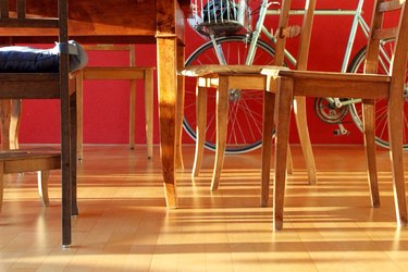 Wooden Chairs And Table On Hardwood Floor
