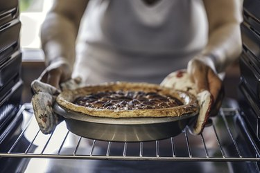 Baking Pecan Pie in The Oven for Holidays