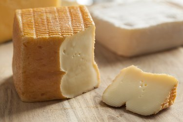 Piece of Belgian Limburger cheese