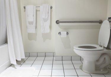 Bathroom with handicap fixture in white
